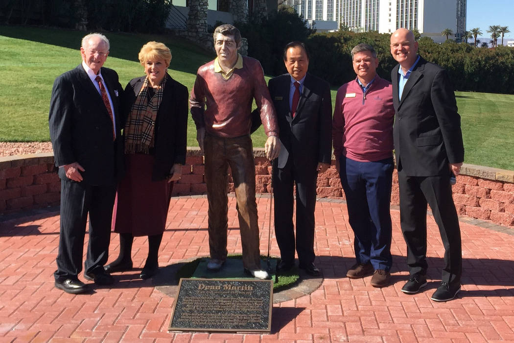 On hand (l to r) for the unveiling of a Dean Martin statue at the private Las Vegas Country Club were former Las Vegas Mayor Oscar Goodman, current Mayor Carolyn Goodman, club president Baik Lee, ...