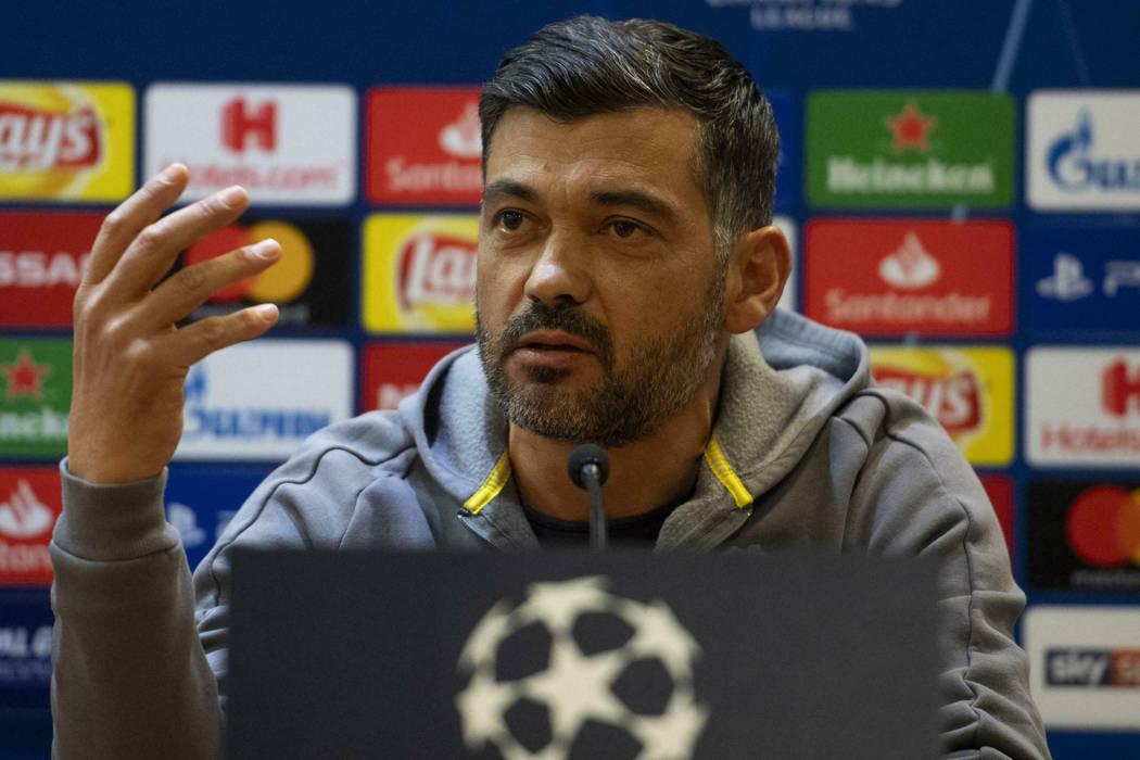 Porto coach Sergio Conceicao attends a press conference at the Olympic stadium in Rome, Monday, Feb. 11, 2019. (Maurizio Brambatti/ANSA via AP)