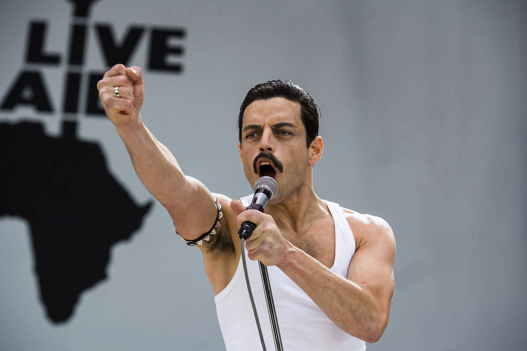 "This image released by Twentieth Century Fox shows Rami Malek in a scene from ""Bohemian Rhapsody."" On Thursday, Dec. 6, 2018, Malek was nominated for a Golden Globe award for lead actor ..."