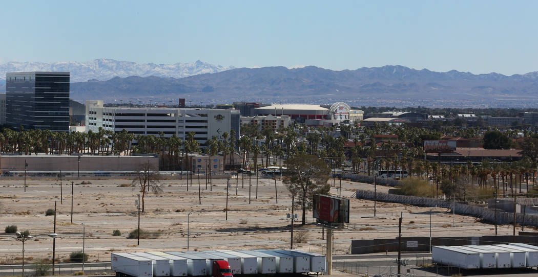 A vacant lot is seen east of Koval Lane and north of Harmon Avenue on Tuesday, Feb. 19, 2019, in Las Vegas. A Southern California investor recently bought nearly 60 acres of mostly vacant land eas ...