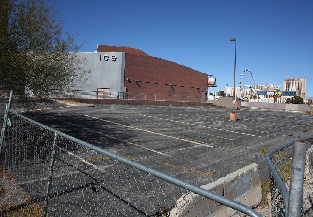 An abandoned nightclub, ICE, is seen east of Koval Lane and north of Harmon Avenue on Tuesday, Feb. 19, 2019, in Las Vegas. A Southern California investor recently bought nearly 60 acres of mostly ...