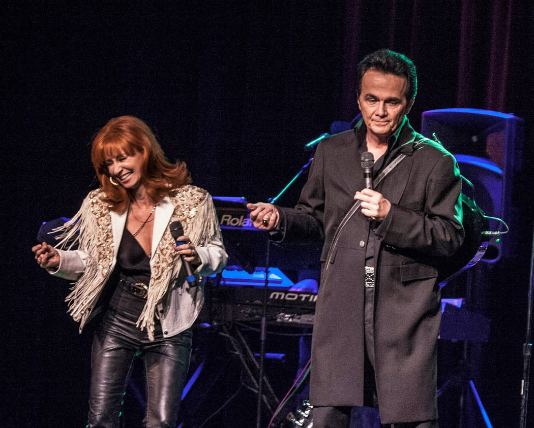 "Corrie Sachs as Reba McEntire and Peter Pavone as Johnny Cash in ""Vegas Goes Country,"" opening at V Theater at Miracle Mile Shops at Planet Hollywood. (Kurt Brown)"