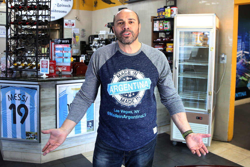 Made in Argentina restaurant owner Pablo Rodriguez talks about his loss while posing for a photo on Tuesday, Feb. 19, 2019, in Las Vegas. A thief stole $10,000 worth of cash, electronics, and empa ...