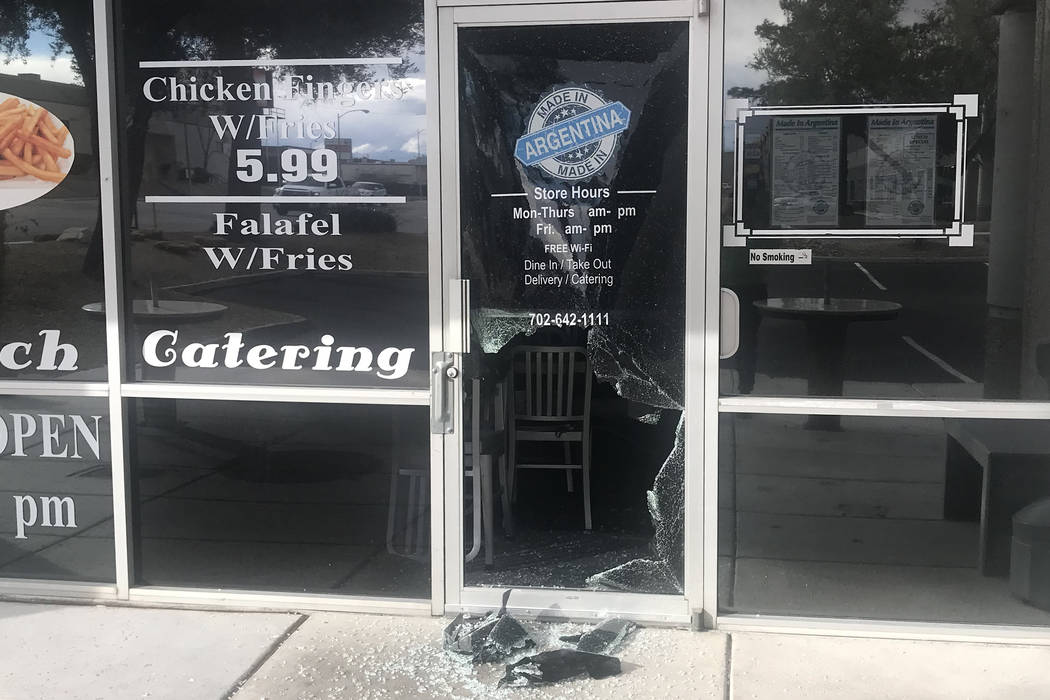 Photos show damage at Made in Argentina restaurant after a burglary occurred at the business on Sunday, Feb. 17, 2019 in Las Vegas. (Pablo Rodriguez)