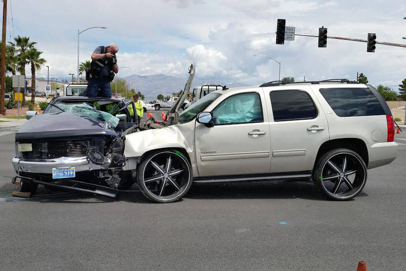 Courtesy of the North Las Vegas Police Department Investigators said Clay Stampley was driving a Dodge Dakota south on Simmons Street when the GMC Yukon registered to Qaadir Isaam Amin II was trav ...