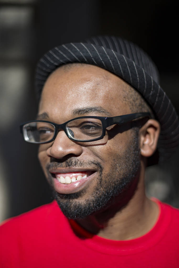 Comedian Brandon Cox Sanford outside his home in Henderson, Tuesday, Feb. 19, 2019. Cox Sanford was born with HIV and brings it up in his standup sets to destigmatize the virus. (Rachel Aston/Las ...