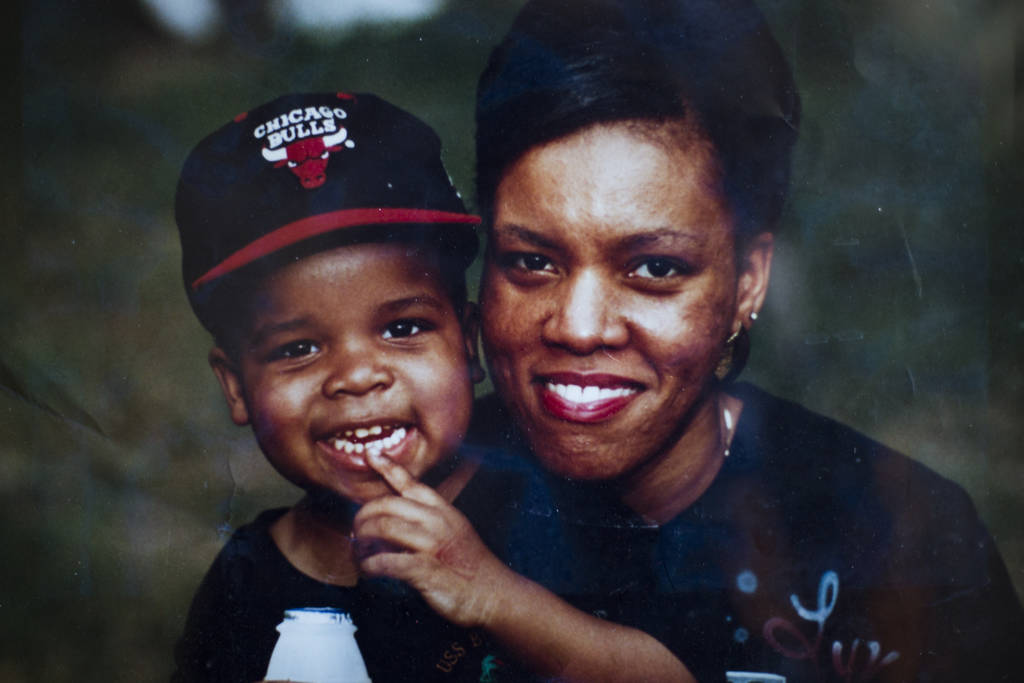 A photo of Brandon Cox Sanford with his mother Linette at his home in Henderson, Tuesday, Feb. 19, 2019. Cox Sanford was born with HIV and brings it up in his standup sets to destigmatize the viru ...