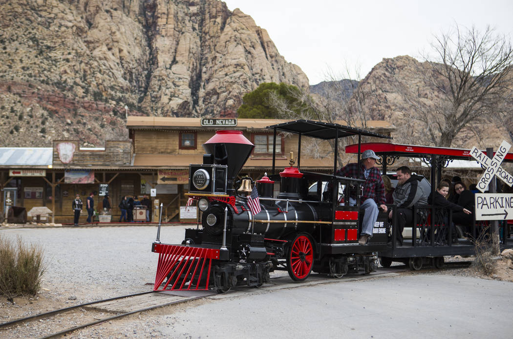 Visitors enjoy a train ride at Bonnie Springs Ranch outside of Las Vegas on Saturday, Jan. 12, 2019. Chase Stevens Las Vegas Review-Journal @csstevensphoto