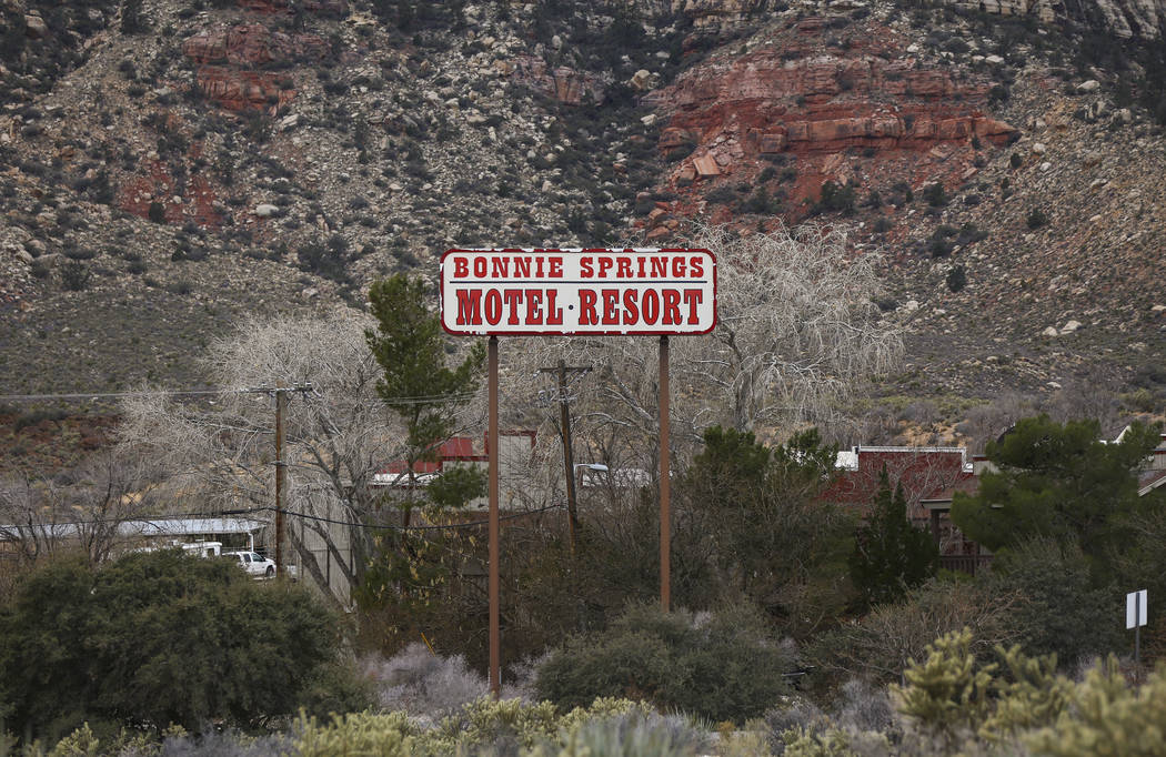 Signage for Bonnie Springs Ranch outside of Las Vegas on Saturday, Jan. 12, 2019. The Clark County Planning Commission early Wednesday, Feb. 20, 2019, unanimously approved a plan to build 20 homes ...