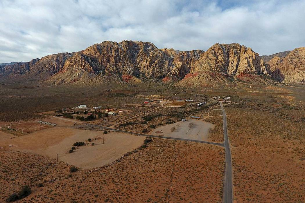 Aerial view of Bonnie Springs Ranch on Wednesday, Feb.20, 2019, where the Clark County Planning Commission has approved a plan to build 20 homes on 64 acres after the property was sold to a develo ...