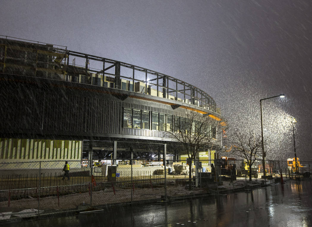 Snow falls over the Las Vegas Ballpark in Las Vegas on Wednesday, Feb. 20, 2019. (Chase Stevens/Las Vegas Review-Journal) @csstevensphoto