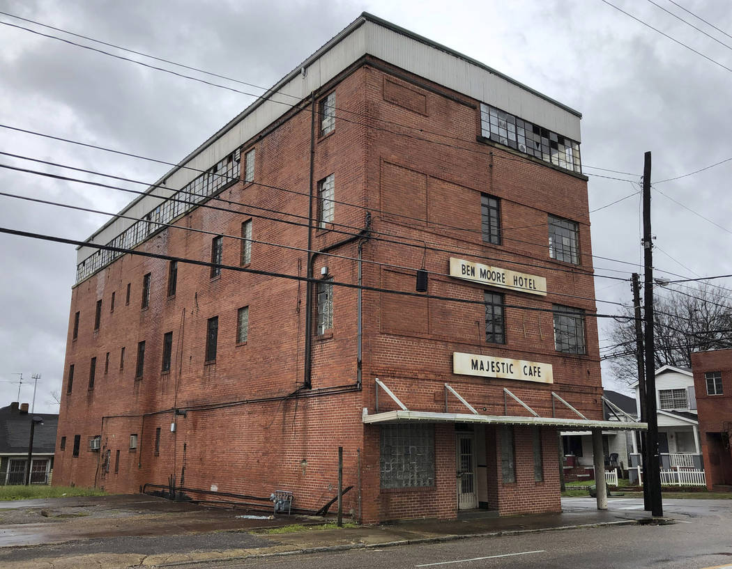"""This Feb. 12, 2019 photo shows the exterior of the old Ben Moore Hotel, once mentioned in the """"Green Book"""" for black travelers, in Montgomery, Alabama. The Oscar-nominated interracial ro ..."""