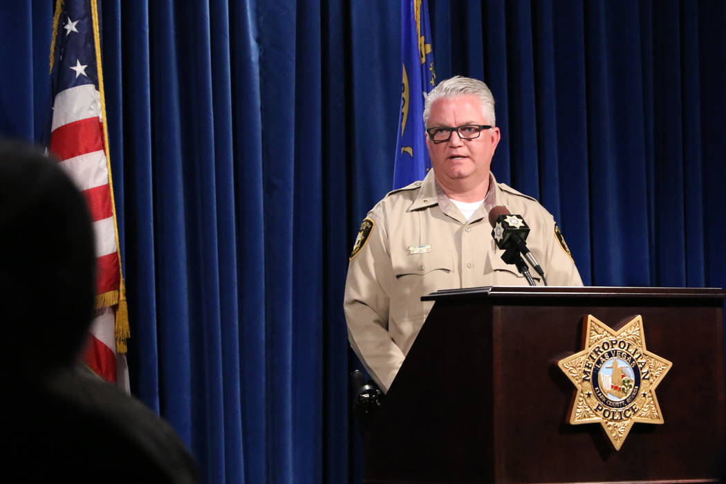 Las Vegas Metro Police Department Deputy Chief Christopher Darcy provides details on a hazardous materials response at a news conference in Las Vegas on Wednesday, Feb. 20, 2019 after a person was ...