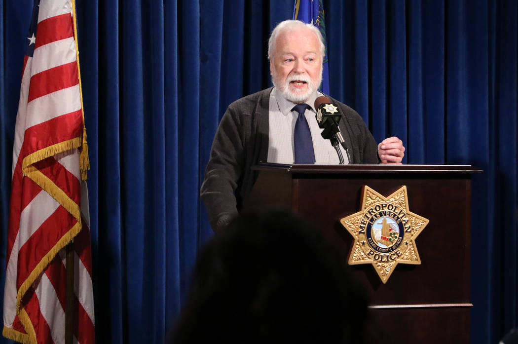 Chief Health Officer of the Southern Nevada Health District Dr. Joe Iser speaks to the media about a hazardous materials response at a news conference in Las Vegas on Wednesday, Feb. 20, 2019, aft ...