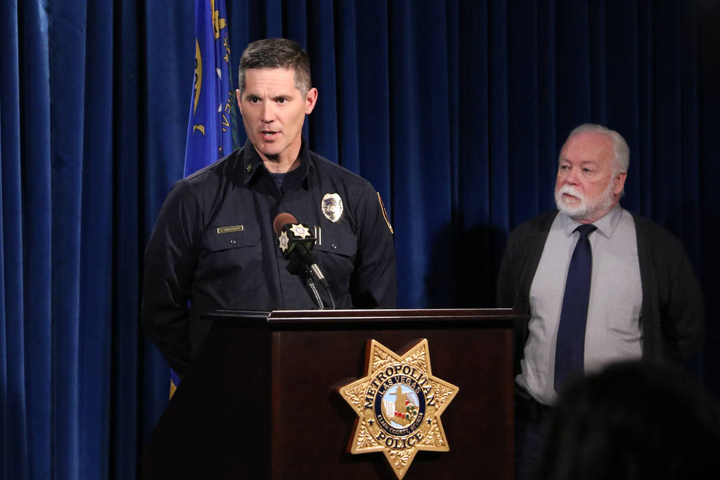 Chief Health Officer of the Southern Nevada Health District Dr. Joe Iser, right, looks on as Clark County Deputy Fire Chief Jon Wiercinski provides details on a hazardous materials response at a n ...