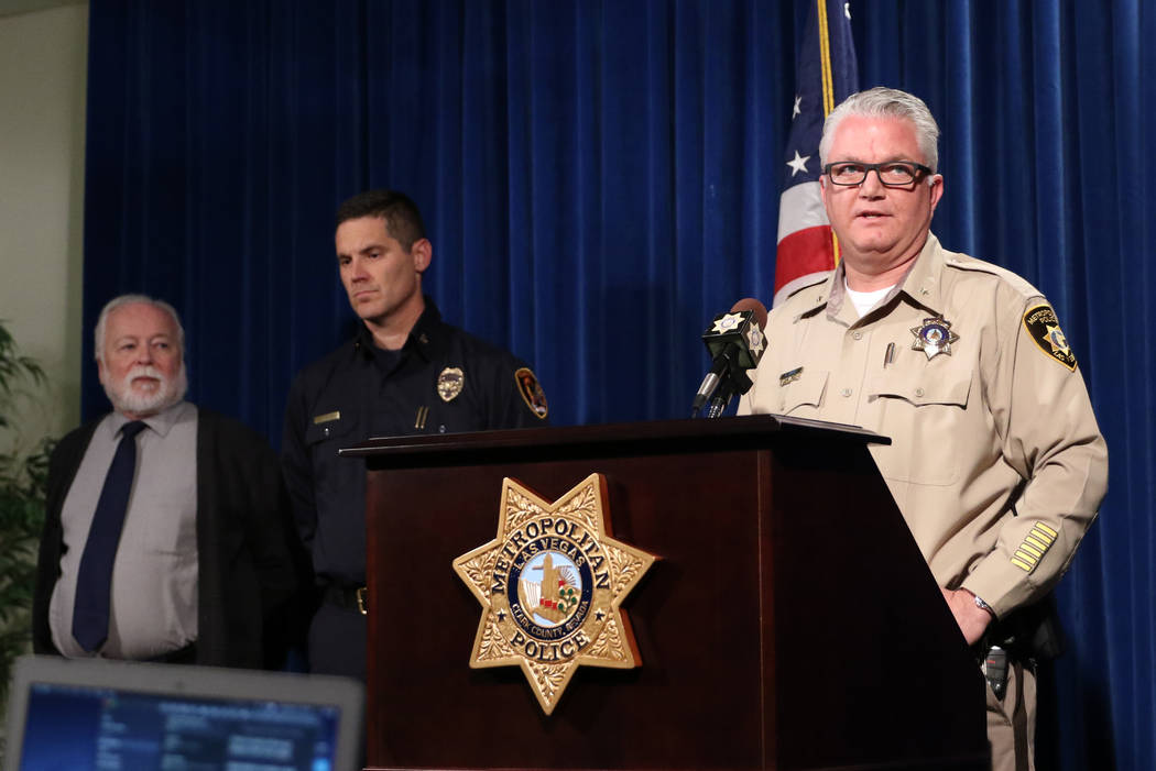 Las Vegas Metro Police Department Deputy Chief Christopher Darcy, right, provides details on a hazardous materials response with Chief Health Officer of the Southern Nevada Health District Dr. Joe ...