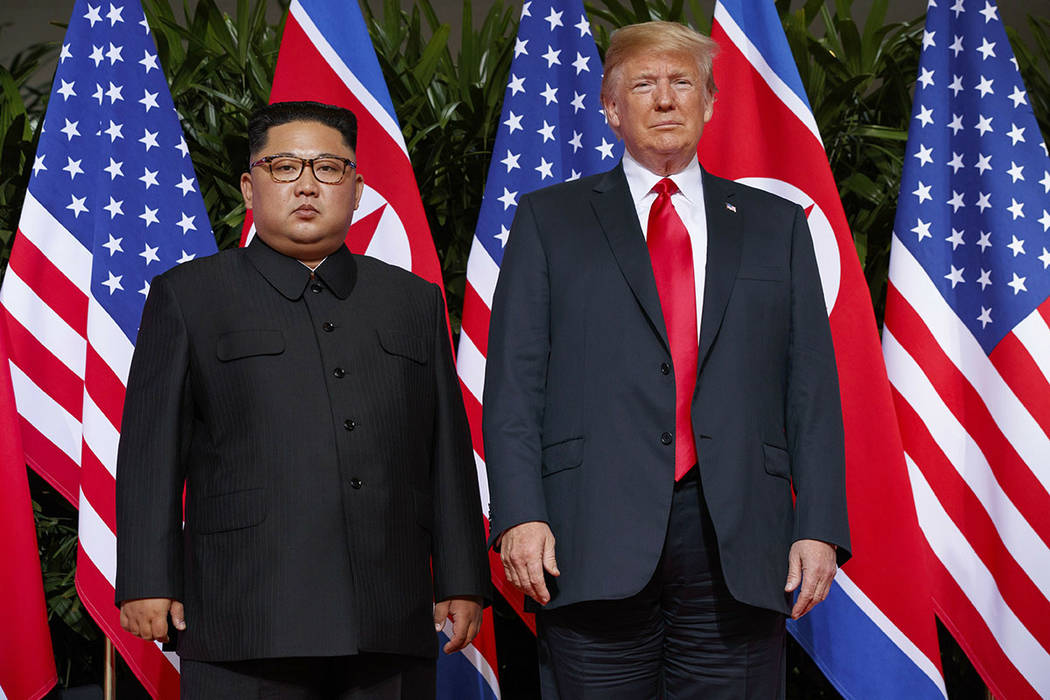 President Donald Trump, right, meets with North Korean leader Kim Jong Un in Singapore in June 2018.(AP Photo/Evan Vucci)