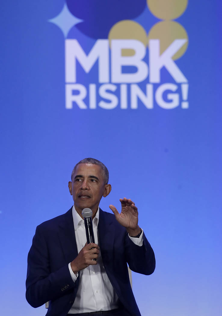 Former President Barack Obama speaks at the My Brother's Keeper Alliance Summit in Oakland, Calif., Tuesday, Feb. 19, 2019. (AP Photo/Jeff Chiu)