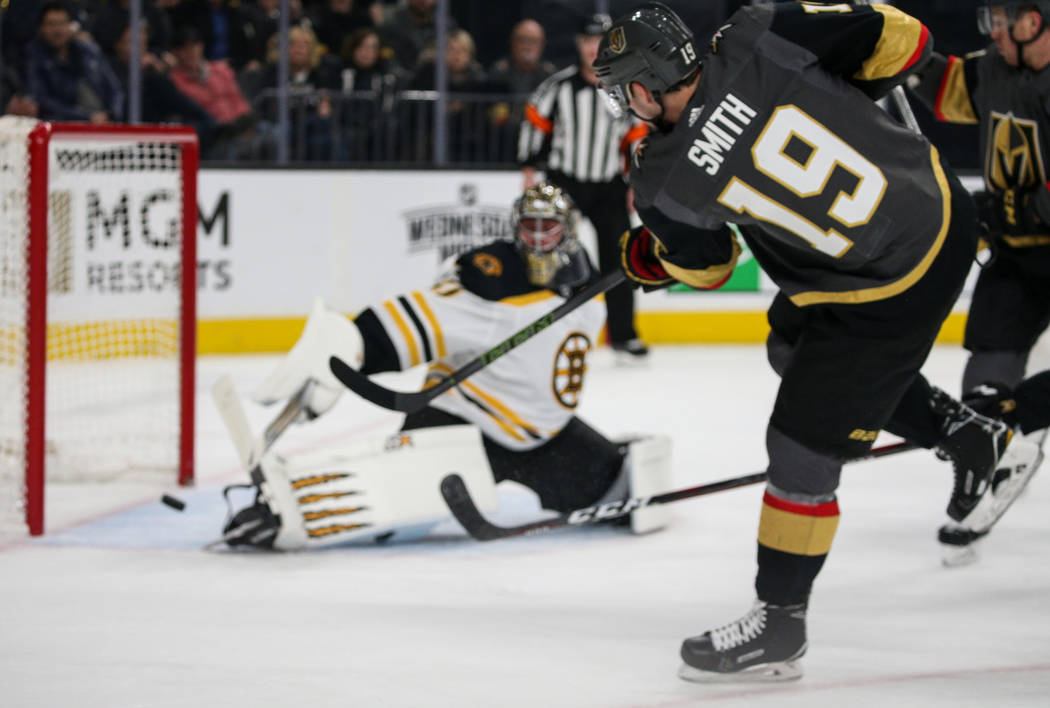 Vegas Golden Knights right wing Reilly Smith (19) scores against Boston Bruins goaltender Jaroslav Halak (41) during the first period of an NHL hockey game at T-Mobile Arena in Las Vegas, Wednesda ...