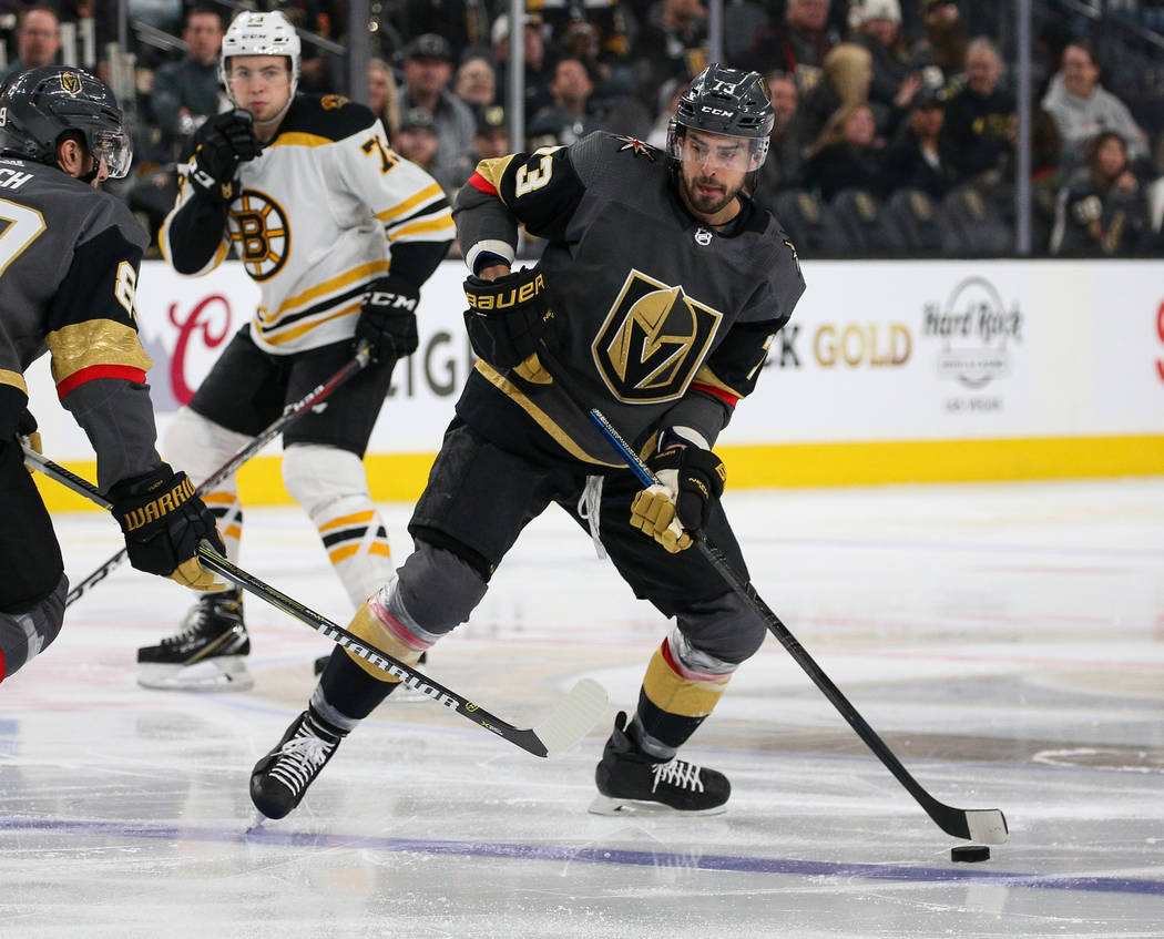Vegas Golden Knights center Brandon Pirri (73) looks to pass the puck during the second period of an NHL hockey game at T-Mobile Arena in Las Vegas, Wednesday, Feb. 20, 2019. (Caroline Brehman/Las ...