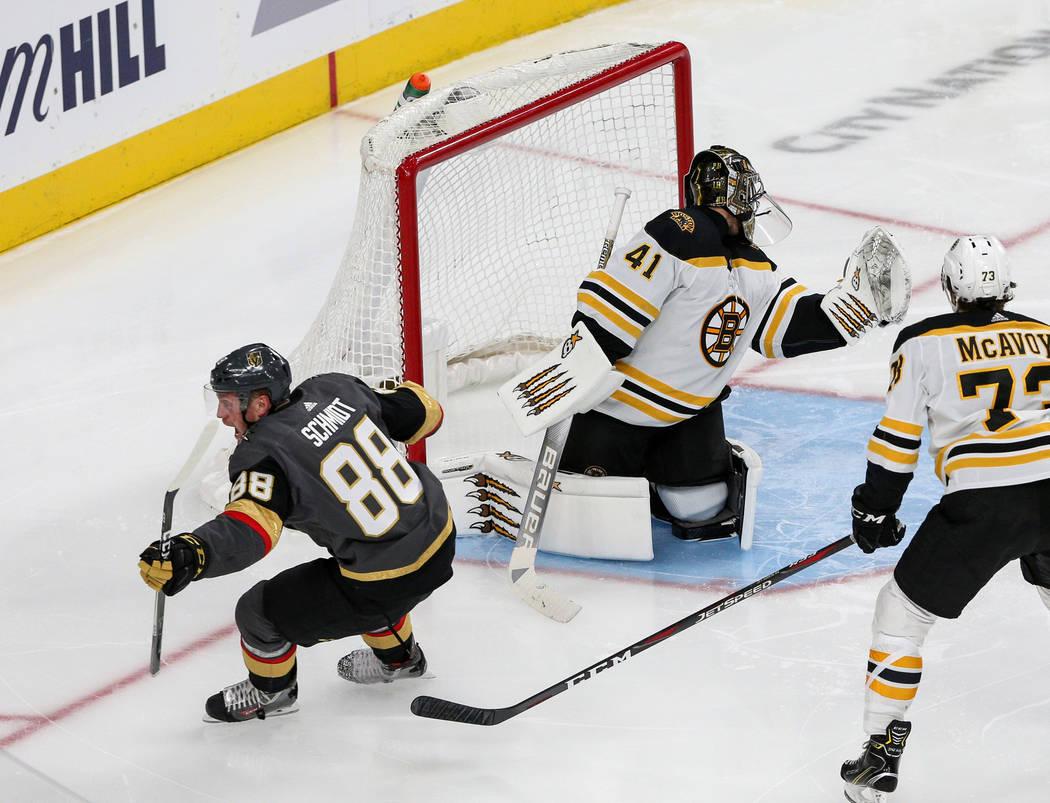 Vegas Golden Knights defenseman Nate Schmidt (88) scores against Boston Bruins goaltender Jaroslav Halak (41) during the third period of an NHL hockey game at T-Mobile Arena in Las Vegas, Wednesda ...