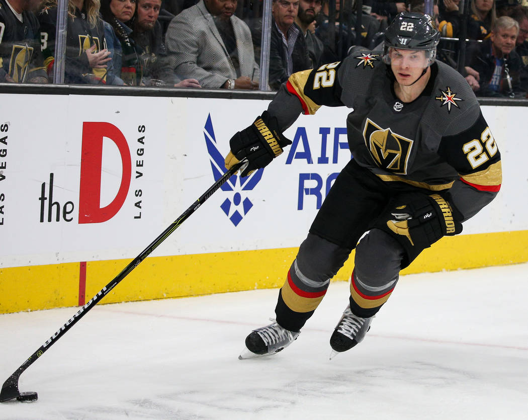 Vegas Golden Knights defenseman Nick Holden (22) skates with the puck during the second period of an NHL hockey game at T-Mobile Arena in Las Vegas, Wednesday, Feb. 20, 2019. (Caroline Brehman/Las ...