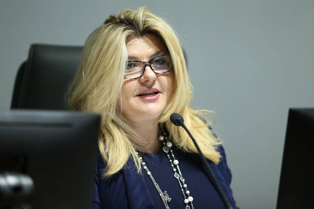 Michele Fiore, board member for the Las Vegas Convention and Visitors Authority, speaks during a board meeting at the Las Vegas Convention Center in Las Vegas, Tuesday, Feb. 12, 2019. (Erik Verduz ...