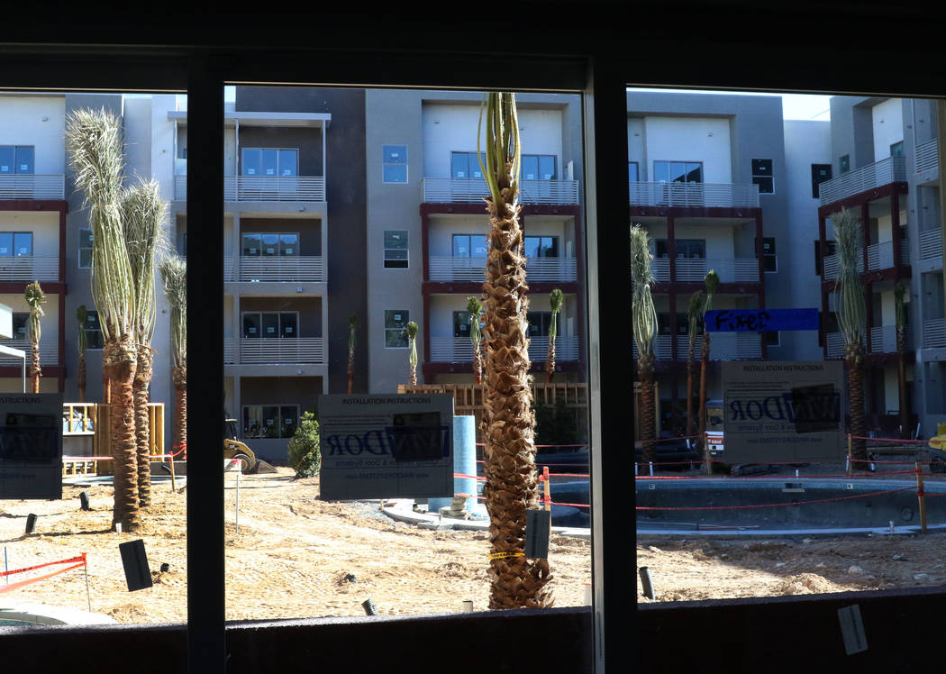 A swimming pool is seen at the under construction site of Kaktus Life, luxury apartment building at 10650 Dean Martin Drive in Las Vegas, on Friday, Feb. 8, 2019, in Las Vegas. (Bizuayehu Tesfaye/ ...
