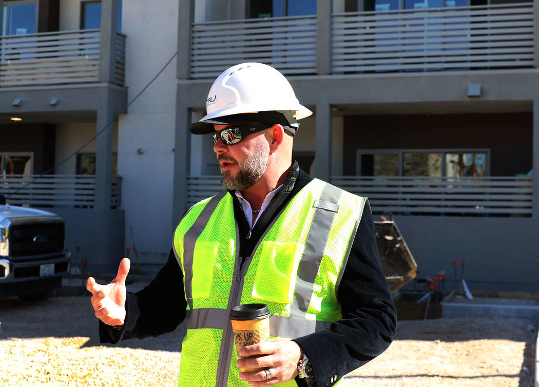 Tim Deters, founder of Tru Development Co., at the project site of Kaktus Life, luxury apartment building at 10650 Dean Martin Drive in Las Vegas, on Friday, Feb. 8, 2019. (Bizuayehu Tesfaye/Las V ...