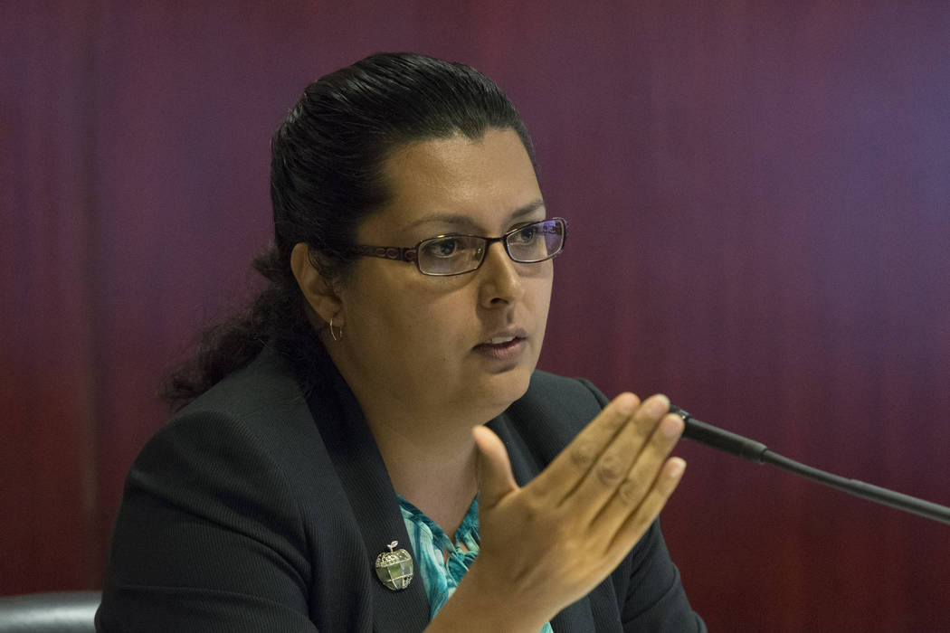 Assemblywoman Olivia Diaz, D-North Las Vegas, speaks during a legislative panel meeting to discuss reorganization plans for the Clark County School District at the Sawyer Building in Las Vegas Tue ...