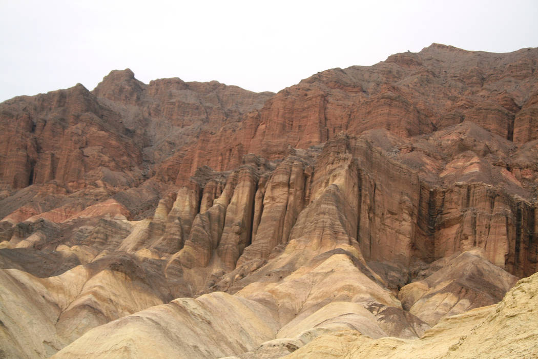 These colorful cliffs found along the Zabriskie Point-to-Golden Canyon hike are in what's called the Furnace Creek formation. (Deborah Wall/Las Vegas Review-Journal)