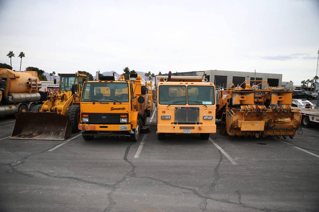 Multi-purpose trucks are seen at the Nevada Department of Transportation, 123 E. Washington Avenue, in Las Vegas, Wednesday, Feb. 20, 2019. (Erik Verduzco/Las Vegas Review-Journal) @Erik_Verduzco