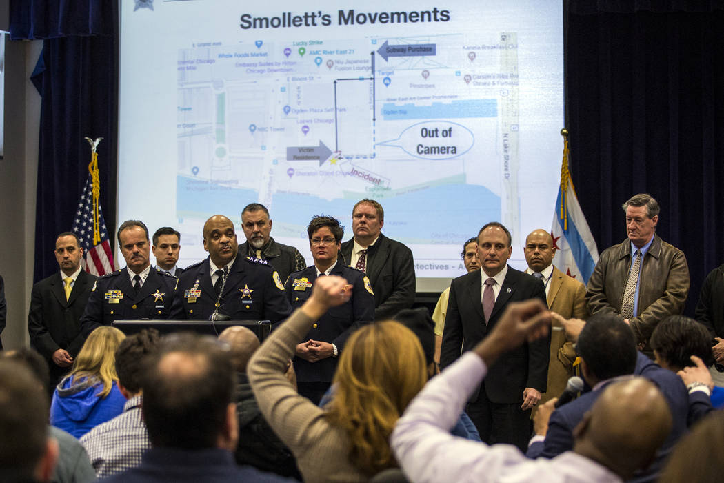 Chicago Police Supt. Eddie Johnson, fourth from left, speaks during a press conference at CPD headquarters, Thursday, Feb. 21, 2019, in Chicago, after actor Jussie Smollett turned himself in on ch ...
