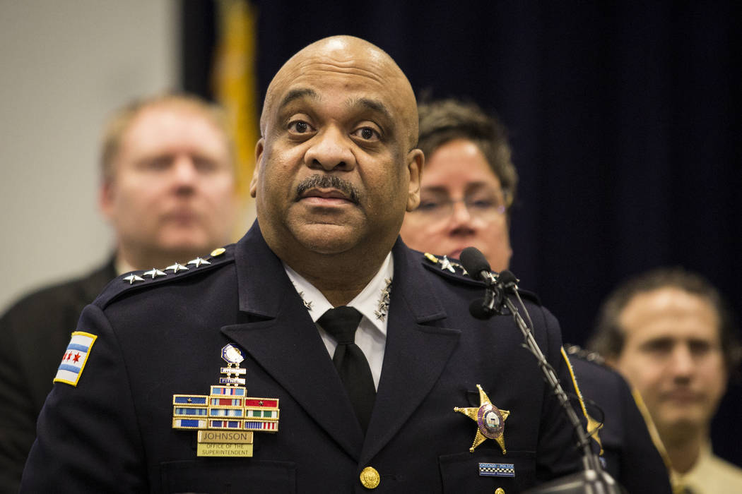 Chicago Police Supt. Eddie Johnson speaks during a press conference at CPD headquarters, Thursday, Feb. 21, 2019, in Chicago, after actor Jussie Smollett turned himself in on charges of disorderly ...