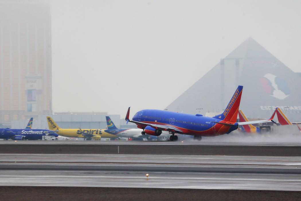 A Southwest takes off from McCarran International Airport in Las Vegas, Thursday, Feb. 21, 2019. (Erik Verduzco/Las Vegas Review-Journal) @Erik_Verduzco