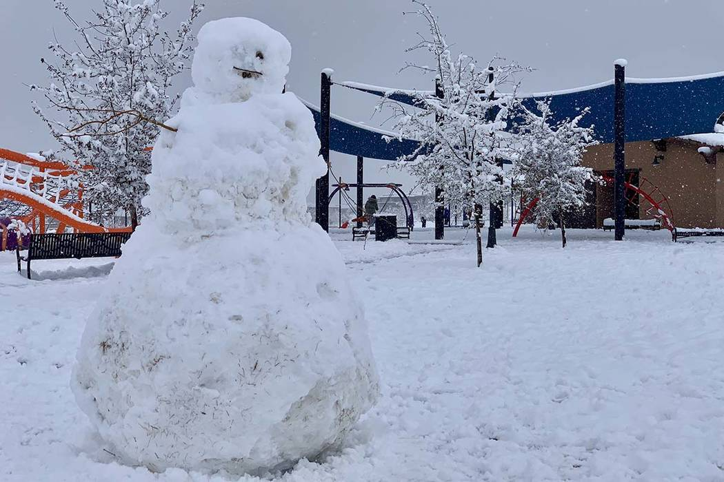 Snow was thick and heavy at Fox Hills Park in Summerlin