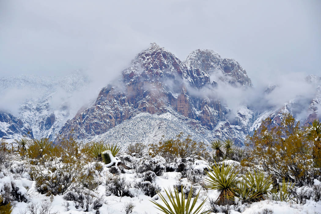 A view of the mountains is seen at Red Rock Canyon National Conservation Area Thursday, Feb. 21, 2019, in Las Vegas. Las Vegas experienced its most significant snowfall in over 10 years. (David Be ...