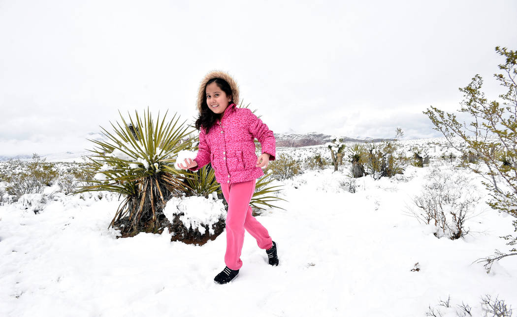 Jasmine Diaz, 10, carries a snowball to attack her brother while the family visited at Red Rock Canyon National Conservation Area Thursday, Feb. 21, 2019, in Las Vegas. Las Vegas experienced its m ...