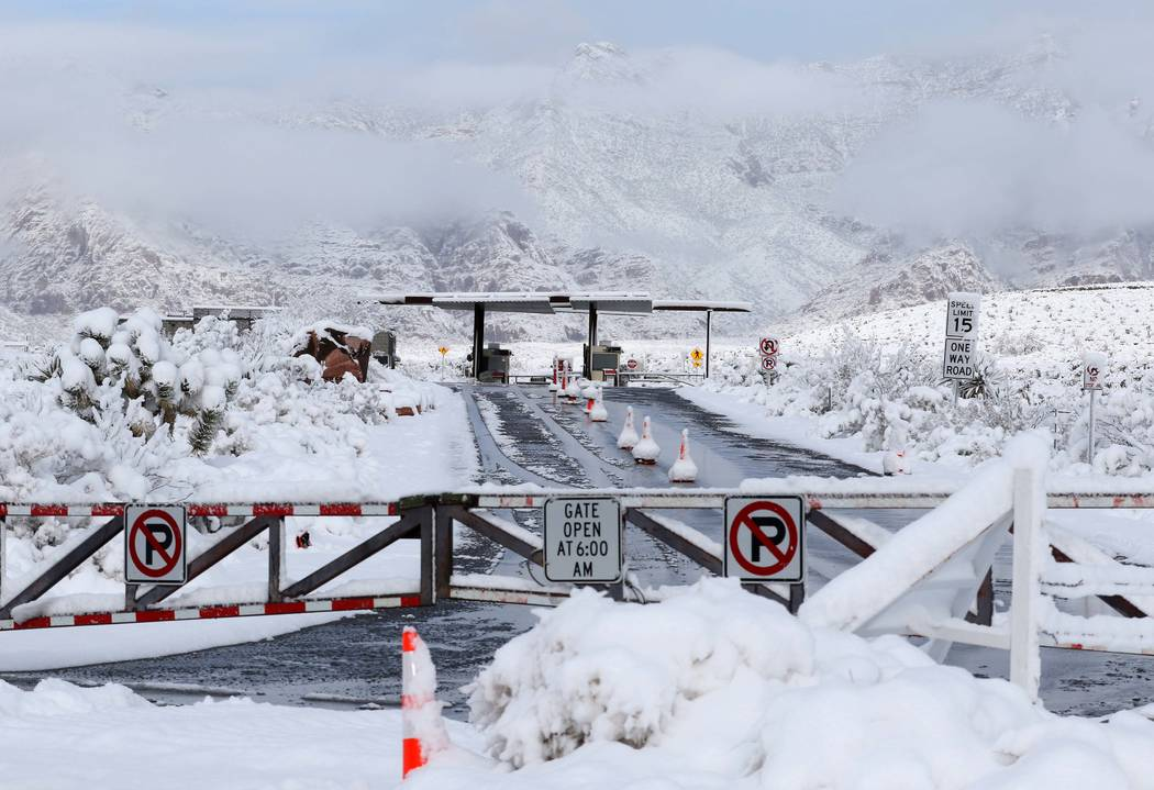 The main entrance to Red Rock Canyon National Conservation Area outside Las Vegas keeps its gates closed due to snow fall in the area, Thursday, Feb. 21, 2019. (Heidi Fang /Las Vegas Review-Journa ...
