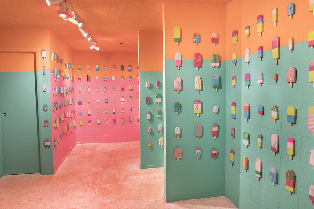 Joel Spencer helped artist Nova May create 1,000 ice cream bars for this room at the Art Motel in 2017. Meow Wolf