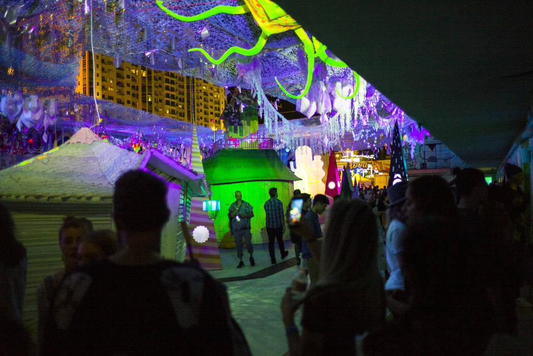 Attendees explore the Art Motel by Meow Wolf during the first day of the Life is Beautiful festival in downtown in Las Vegas on Friday, Sept. 22, 2017. Chase Stevens Las Vegas Review-Journal @csst ...
