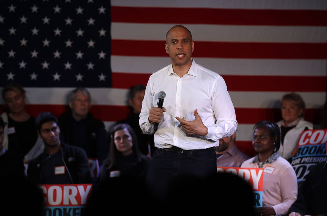U.S. Sen. Cory Booker, D-N.J., during a campaign stop in Portsmouth, N.H., Saturday, Feb. 16, 2019. (AP Photo/Charles Krupa)