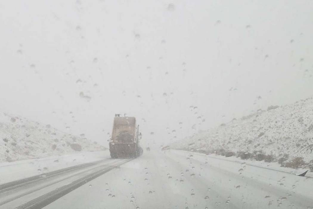 The California Highway Patrol is advising drivers to be prepared for snow and ice in the Mountain Pass area. (CHP Barstow/Twitter)