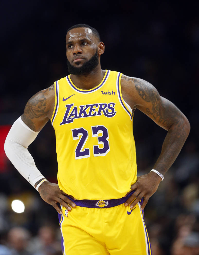 Los Angeles Lakers forward LeBron James is shown during the second half of an NBA basketball game against the Atlanta Hawks Tuesday, Feb. 12, 2019, in Atlanta. The Hawks won 117-113. (AP Photo/Joh ...