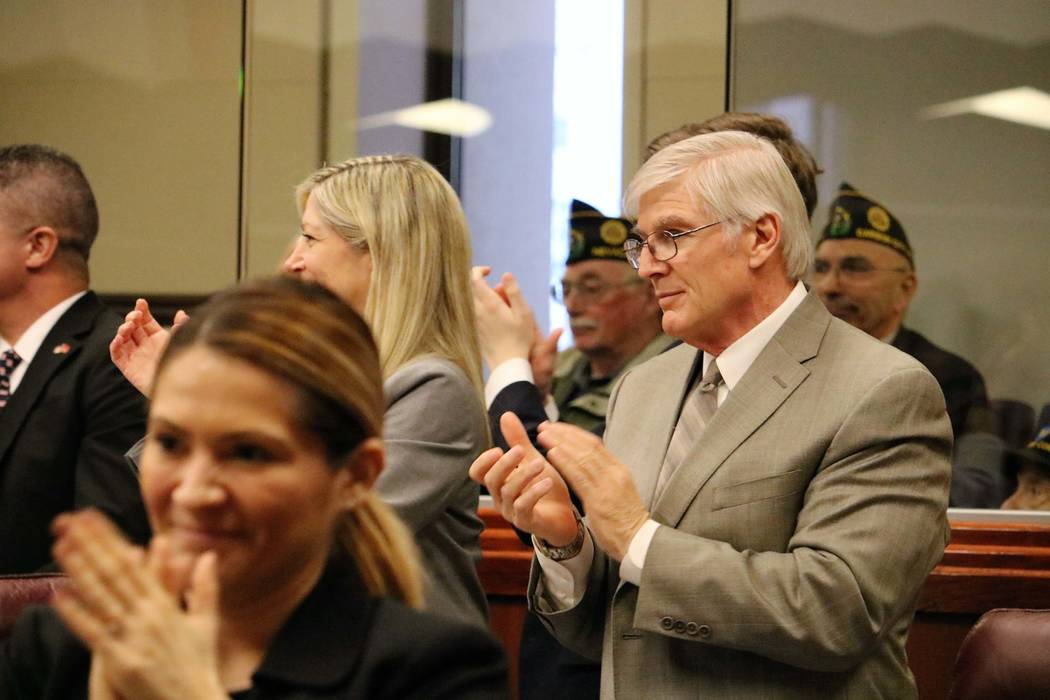 Assemblyman Skip Daly, D-Sparks, applauds veterans on the Nevada Assembly floor during 2017 Veterans and Military Day at the Legislature, March 15, 2017. (Victor Joecks/Las Vegas Review-Journal) @ ...