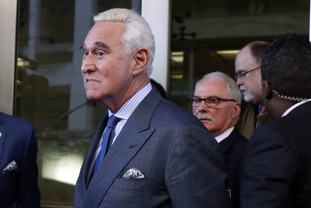Former campaign adviser for President Donald Trump, Roger Stone, leaves federal court Thursday, Feb. 21, 2019, in Washington. A judge has imposed a full gag order on Trump confidant Roger Stone af ...