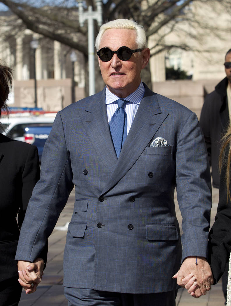 Former campaign adviser for President Donald Trump, Roger Stone arrives at federal court in Washington, Thursday, Feb. 21, 2019. Stone was ordered to appear in court over a Instagram post he made ...