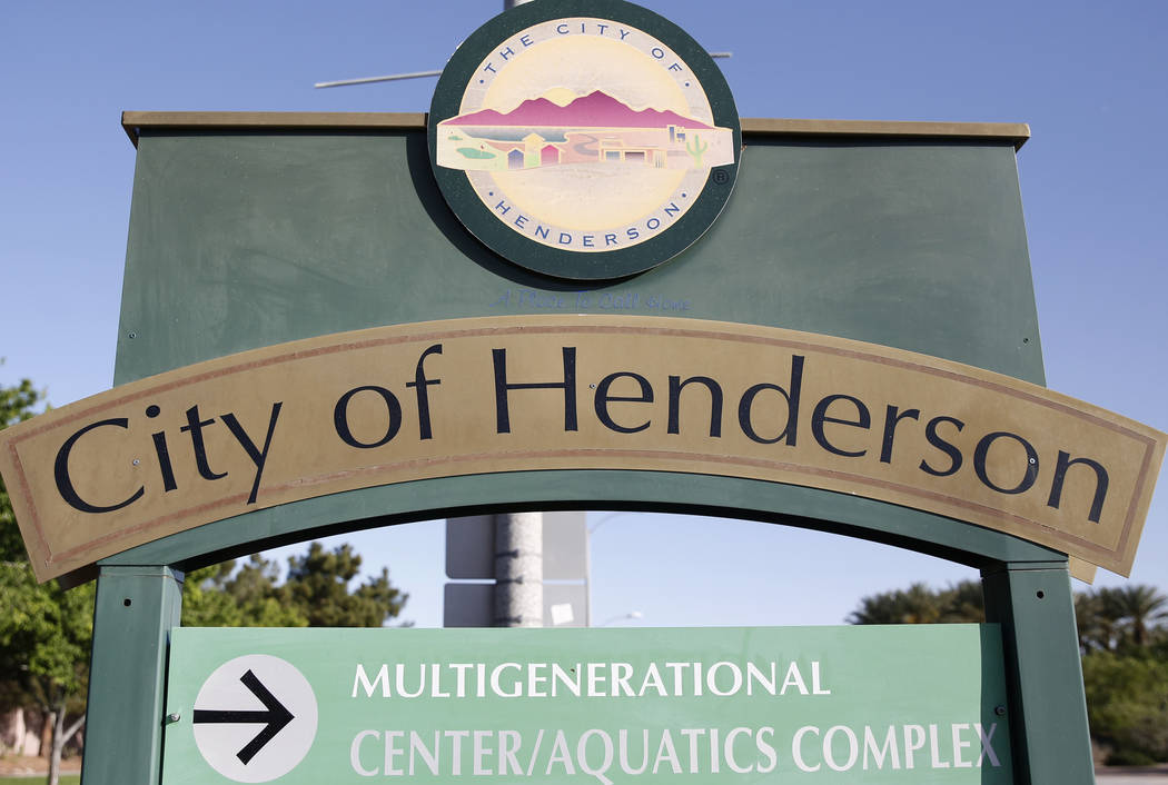 City of Henderson sign on Thursday, April 13, 2017. (Bizuayehu Tesfaye/Las Vegas Review-Journal) @bizutesfaye