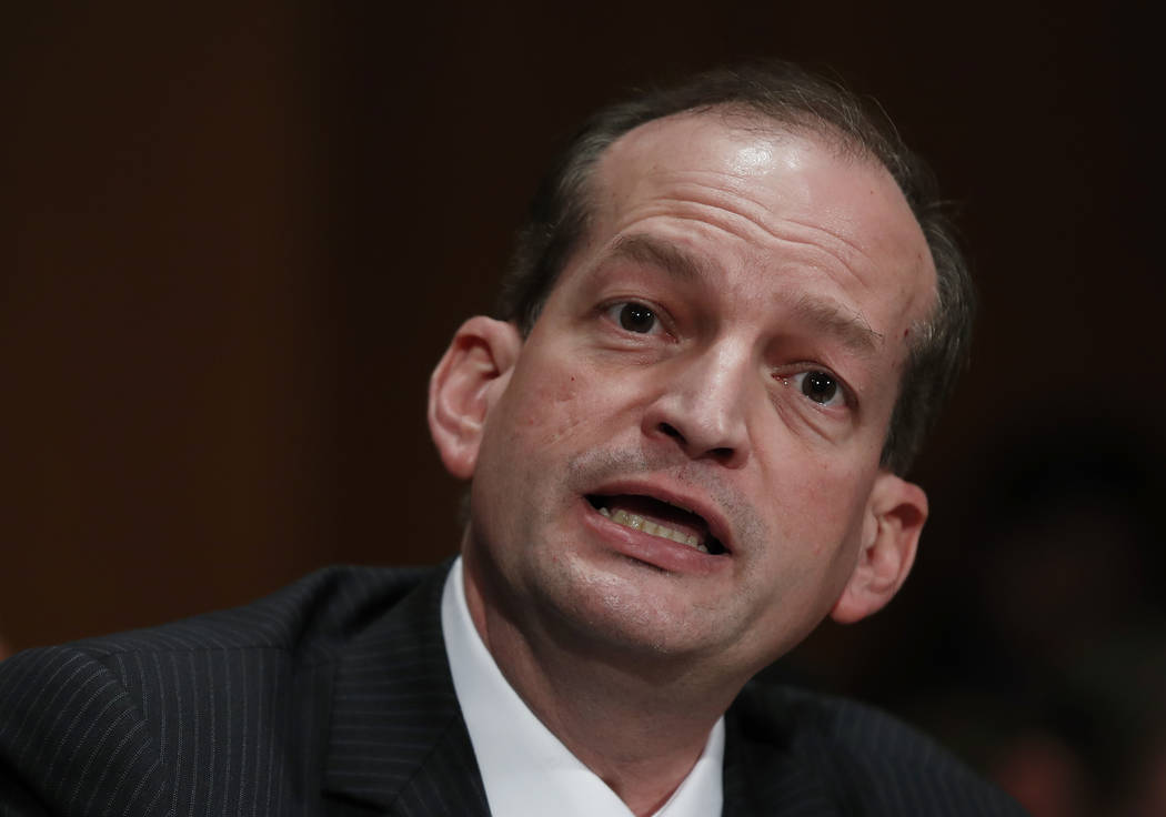 In this March 22, 2017, file photo, Labor secretary-designate Alex Acosta testifies on Capitol Hill in Washington. Judge Kenneth Marra ruled Thursday, Feb. 21, 2019, that the victims of financier ...