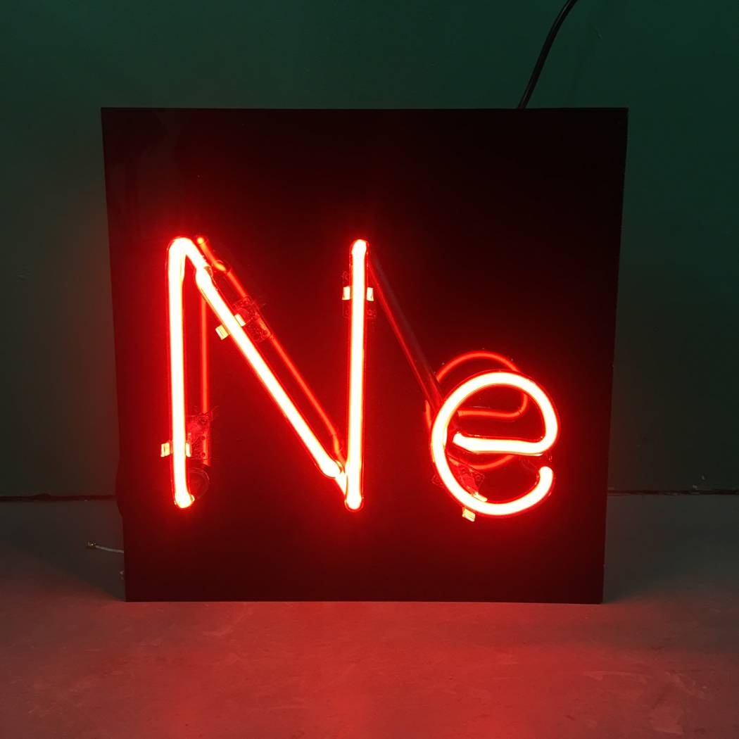 Will Durham commissioned this sign made out of neon that shows the chemical symbol of neon. (Will Durham)